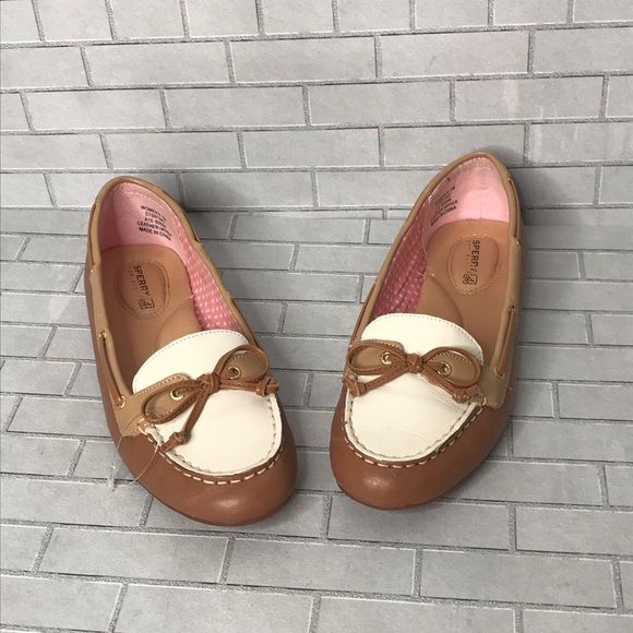 Sperry Top Sider two tone loafers white tan